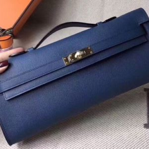 Replica Hermes Kelly Cut 31cm Epsom Leather Clutch Handmade Blue