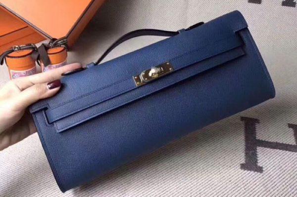Replica Hermes Kelly Cut 31cm Epsom Leather Clutch Handmade Blue