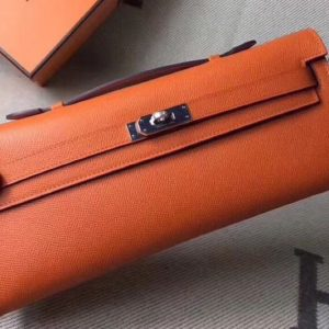 Replica Hermes Kelly Cut 31cm Epsom Leather Clutch Handmade Orange