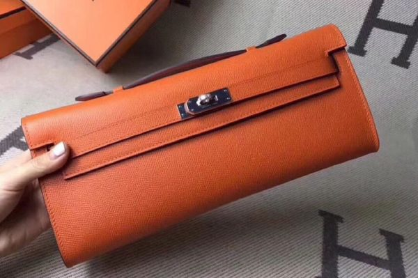 Replica Hermes Kelly Cut 31cm Epsom Leather Clutch Handmade Orange
