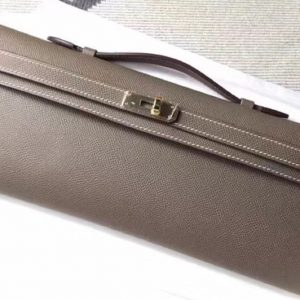 Replica Hermes Kelly Cut 31cm Epsom Leather Clutch Handmade Elephant Gray