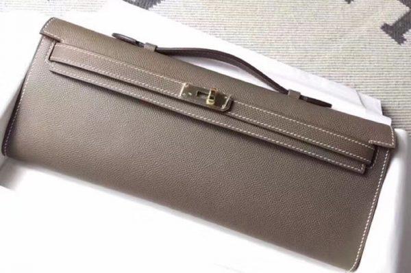 Replica Hermes Kelly Cut 31cm Epsom Leather Clutch Handmade Elephant Gray