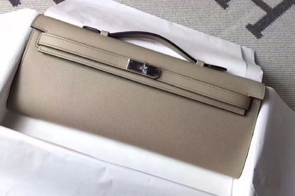 Replica Hermes Kelly Cut 31cm Epsom Leather Clutch Handmade Windbreaker Gray
