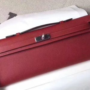 Replica Hermes Kelly Cut 31cm Epsom Leather Clutch Handmade Bordeaux