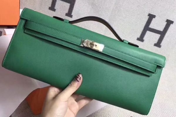 Replica Hermes Kelly Cut 31cm Swift Leather Clutch Handmade Green