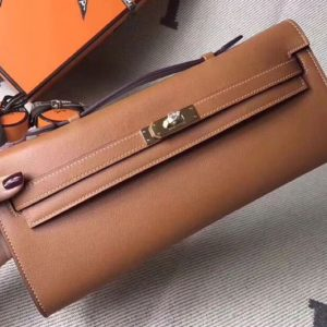 Replica Hermes Kelly Cut 31cm Swift Leather Clutch Handmade Brown