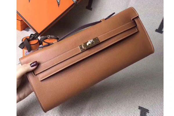 Replica Hermes Kelly Cut 31cm Swift Leather Clutch Handmade Brown