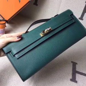 Replica Hermes Kelly Cut 31cm Epsom Leather Clutch Handmade Green