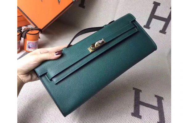 Replica Hermes Kelly Cut 31cm Epsom Leather Clutch Handmade Green