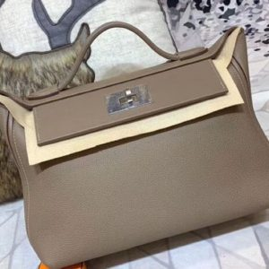 Replica Hermes Kellyw 24cm Original Togo Leather Bags Handmade Gray