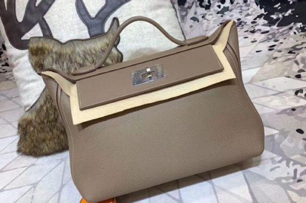 Replica Hermes Kellyw 24cm Original Togo Leather Bags Handmade Gray