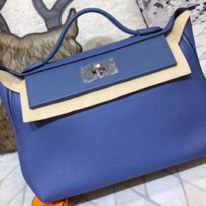 Replica Hermes Kellyw 24cm Original Togo Leather Bags Handmade Blue