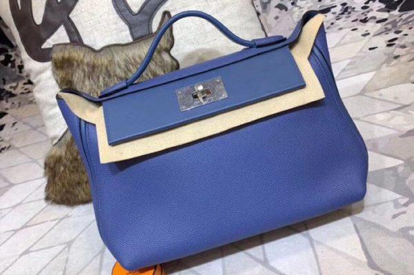 Replica Hermes Kellyw 24cm Original Togo Leather Bags Handmade Blue