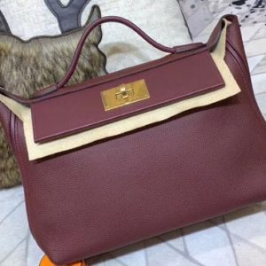 Replica Hermes Kellyw 24cm Original Togo Leather Bags Handmade Bordeaux