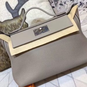 Replica Hermes Kellyw 24cm Original Togo Leather Bags Handmade Grey