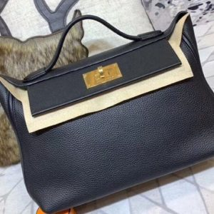 Replica Hermes Kellyw 24cm Original Togo Leather Bags Handmade Black