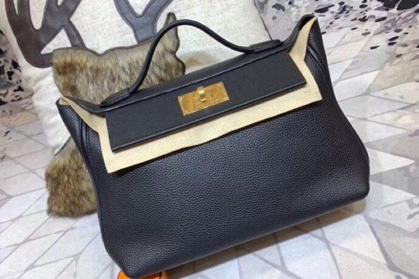 Replica Hermes Kellyw 24cm Original Togo Leather Bags Handmade Black
