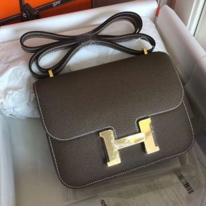 Replica Hermes Constance 19cm Bag Original Epsom Leather Gold Elephant Gray