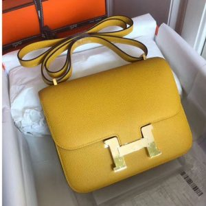 Replica Hermes Constance 19cm Bag Original Epsom Leather Gold Yellow