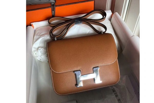 Replica Hermes Constance 19cm Bag Original Epsom Leather Silver Tan