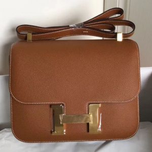 Replica Hermes Constance 24cm Bag Original Epsom Leather Gold Tan