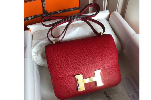 Replica Hermes Constance 19cm Bag Original Epsom Leather Gold Red