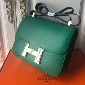 Replica Hermes Constance 24cm Bag Original Epsom Leather Gold Green