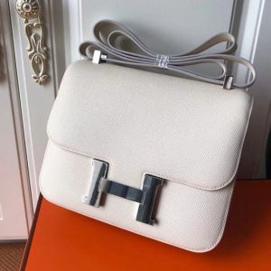 Replica Hermes Constance 24cm Bag Original Epsom Leather Silver Craie