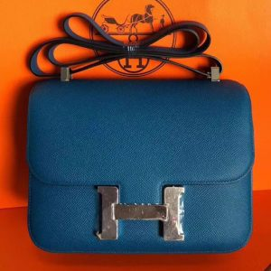 Replica Hermes Constance 24cm Bag Original Epsom Leather Silver Blue