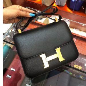 Replica Hermes Constance 24cm Bag Original Epsom Leather Gold Black
