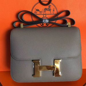 Replica Hermes Constance 24cm Bag Original Epsom Leather Gold Gray