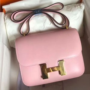 Replica Hermes Constance 19cm Bag Original Swift Leather Gold Pink