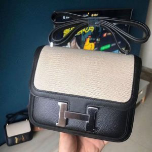 Replica Hermes Constance 19cm Bag Original Epsom Leather Silver Black and White