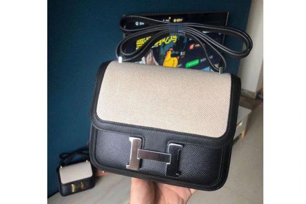 Replica Hermes Constance 19cm Bag Original Epsom Leather Silver Black and White