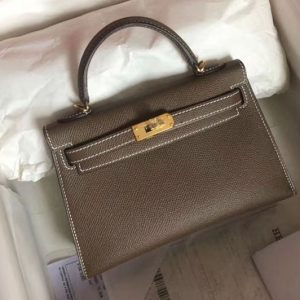 Replica Hermes 25cm Mini Kelly Tote Bags Original Epsom Leather Handmade Gold Gray