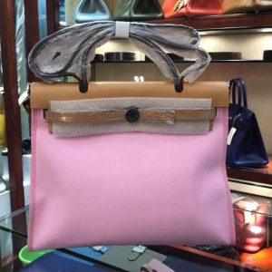 Replica Hermes Herbag 31cm Pink Canvas Bag