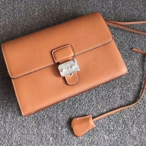 Replica Mens Hermes 24cm Clutch Bag Original Swift Leather Tan