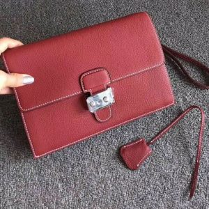 Replica Mens Hermes 24cm Clutch Bag Original Swift Leather Wine