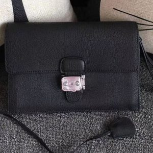 Replica Mens Hermes 24cm Clutch Bag Original Swift Leather Black