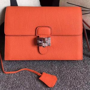 Replica Mens Hermes 24cm Clutch Bag Original Swift Leather Orange