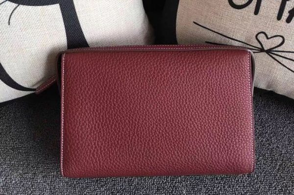Replica Mens Hermes 24cm Clutch Original Swift Leather Bags Wine