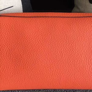 Replica Mens Hermes 24cm Clutch Original Swift Leather Bags Orange