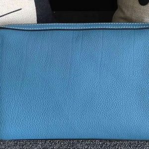 Replica Mens Hermes 24cm Clutch Original Swift Leather Bags Blue