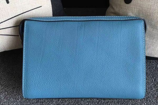 Replica Mens Hermes 24cm Clutch Original Swift Leather Bags Blue