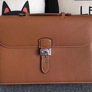 Replica Mens Hermes 38cm Original Togo Leather Briefcases Bags Tan