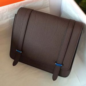 Replica Mens Hermes Steve 28mm Messenger Bags Original Togo Leather Dark Coffee