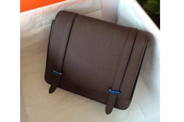 Replica Mens Hermes Steve 28mm Messenger Bags Original Togo Leather Dark Coffee