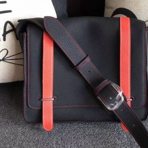 Mens Hermes Steve 28mm Messenger Bags Original Togo Leather Black And Red