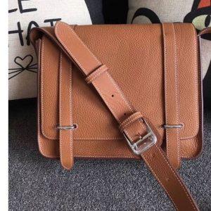 Replica Mens Hermes Steve 28mm Messenger Bags Original Togo Leather Tan