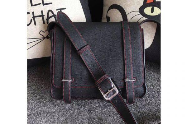 Replica Mens Hermes Steve 28mm Messenger Bags Original Togo Leather Black